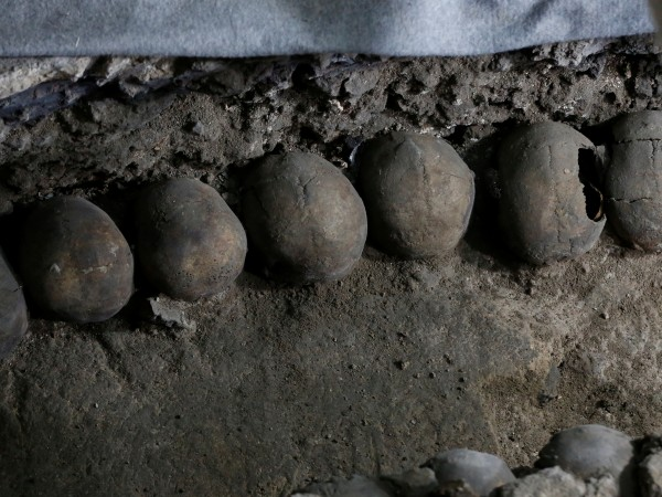 Снимка: Reuters123456789101112Кула от човешки черепи, открита под центъра на мексиканската