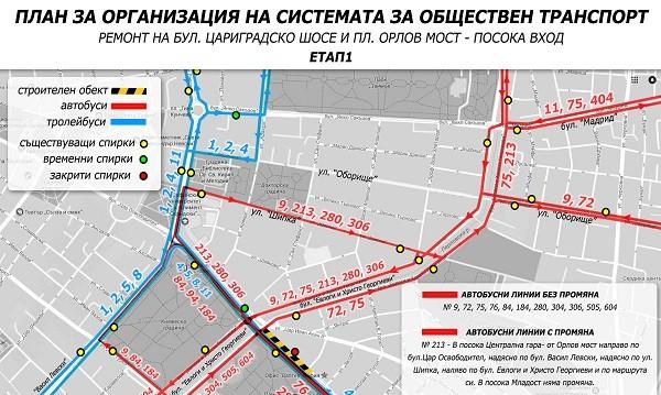 Ремонът на Цариградско променя транспортни маршрути